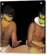 Kathakali Dancers Getting Ready Acrylic Print