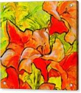Kathies Daylilies Fine Art Painting North Carolina Acrylic Print