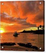 Kauai Sunset And Boat At Anchor Acrylic Print