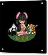 Kawaii China Doll Friends Panda And Tiger Acrylic Print