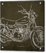 Kawasaki Motorcycle Blueprint, Mid Century Brown Art Print Acrylic Print