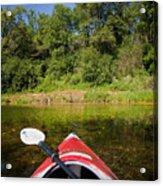 Kayak On A Forested Lake Acrylic Print