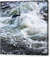 Kayak Roll Up In Pipeline Rapids 5959 Acrylic Print