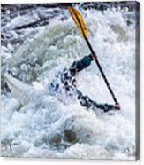 Kayaker In Action At Pipeline Rapids In James River 5956c Acrylic Print
