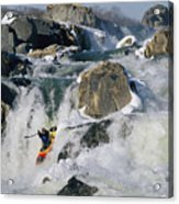 Kayaker Running Great Falls Acrylic Print