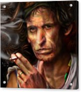 Keith Richards1-burning Lights 4 Acrylic Print by Reggie Duffie