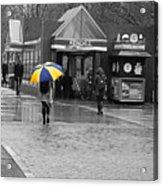 Kendall Square Rainy Day Cambridge Ma Blue And Yellow Acrylic Print