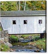 Kent Falls Bridge In Autumn Acrylic Print