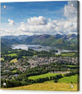 Keswick And Derwent Water View From Latrigg Acrylic Print
