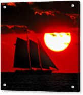 Key West Sunset Sail Silhouette Acrylic Print