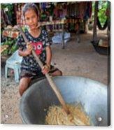 Khmer Girl Makes Sugar Cane Candy Acrylic Print