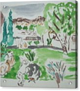 Kibbutz Summer View.water Color 1992 Acrylic Print