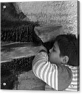 Kid Drinking From The Fountain Acrylic Print