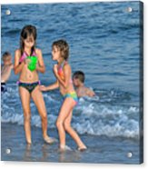 Kids At The Beach Acrylic Print