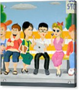 Kids At The Bus Stop Acrylic Print