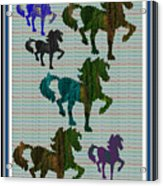 Kids Fun Gallery Horse Prancing Art Made Of Jungle Green Wild Colors Acrylic Print