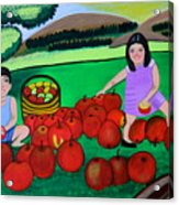Kids Playing And Picking Apples Acrylic Print