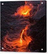 Kilauea Volcano Lava Flow Sea Entry - The Big Island Hawaii Acrylic Print