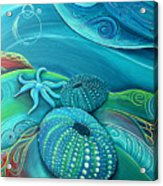 Kina Sea Anemone With  Stingray By Reina Cottier Acrylic Print