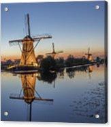 Kinderdijk In The Blue Hour Acrylic Print