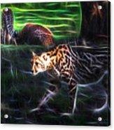 King Cheetah And 3 Cubs Acrylic Print
