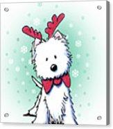 Kiniart Westie Reindeer Acrylic Print