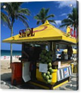 Kiosk On Ipanema Beach Acrylic Print by George Oze