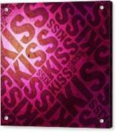 Kiss Kiss Words On Pink Acrylic Print by Michael Tompsett