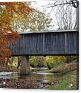 Kissing Bridge At Fall Acrylic Print