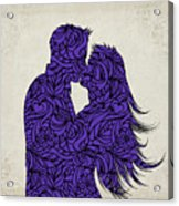 Kissing Couple Silhouette Ultraviolet Acrylic Print