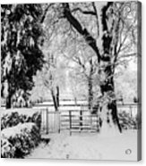 Kissing Gate In The Snow Acrylic Print