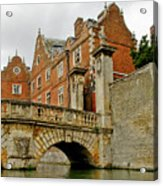Kitchen Or Wren Bridge And St. Johns College From The Backs. Cambridge. Acrylic Print