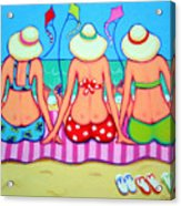 Kite Flying 101 - Girlfriends On Beach Acrylic Print