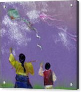 Kite Flying Acrylic Print by Mui-Joo Wee