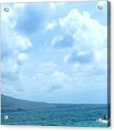 Kite Surfing With A Nevis Background Acrylic Print