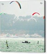Kiteboarding In The San Francisco Bay Acrylic Print