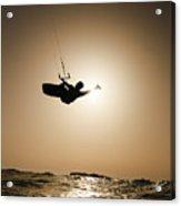 Kitesurfing At Sunset Acrylic Print