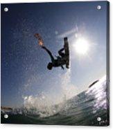Kitesurfing In The Mediterranean Sea  Acrylic Print by Hagai Nativ