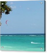 Kitesurfing The Caribbean Acrylic Print by Keith Stokes