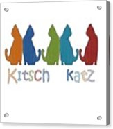 Kitsch Cats Silhouette Cat Collage Pattern Isolated Acrylic Print