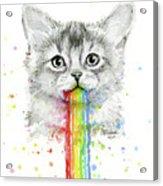 Kitten Puking Rainbows Acrylic Print