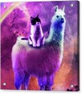 Kitty Cat Riding On Rainbow Llama In Space Acrylic Print