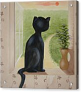 Kitty In The Window Acrylic Print