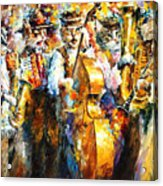 Klezmer Cats - Palette Knife Oil Painting On Canvas By Leonid Afremov Acrylic Print