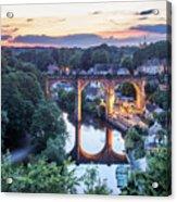 Knaresborough Viaduct Floodlit At Dusk Acrylic Print