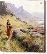 Knitting In A Norwegian Landscape Acrylic Print