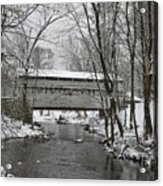 Knox Valley Forge Covered Bridge In Winter Acrylic Print