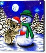 Koala With Snowman Acrylic Print