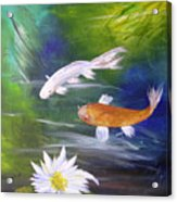 Kohaku Koi And Water Lily Acrylic Print