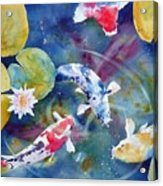 Koi And Waterlily Flower Acrylic Print
